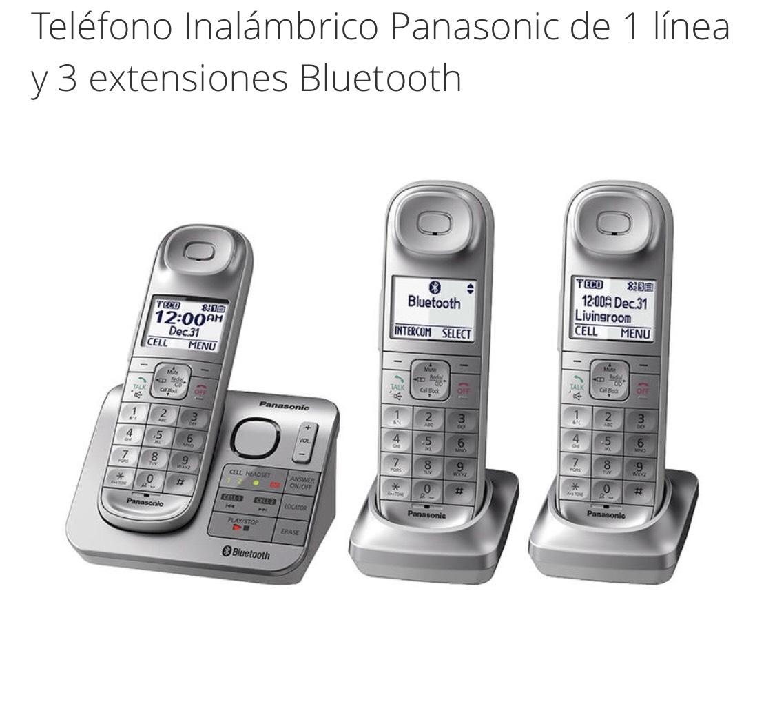 Groupon: Teléfono Inalámbrico Panasonic de 1 línea y 3 extensiones Bluetooth