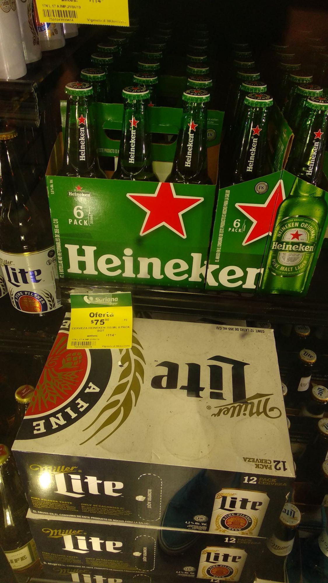 Soriana tréboles: six de Heineken 355ml cristal