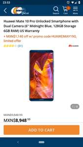 Newegg: Huawei Mate 10 Pro 6GB/128GB Desbloqueado Midnight Blue