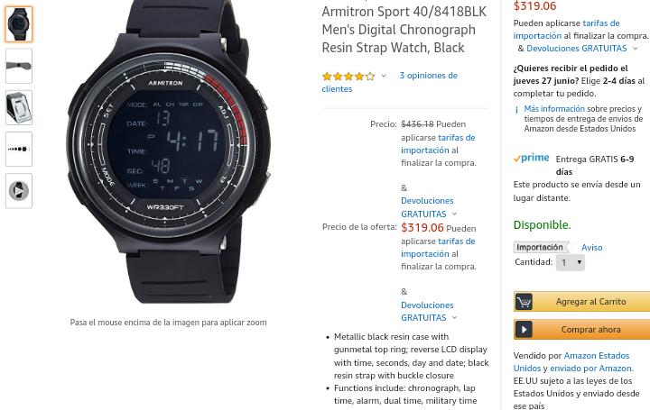 Amazon: Reloj Armitron Sport Negro