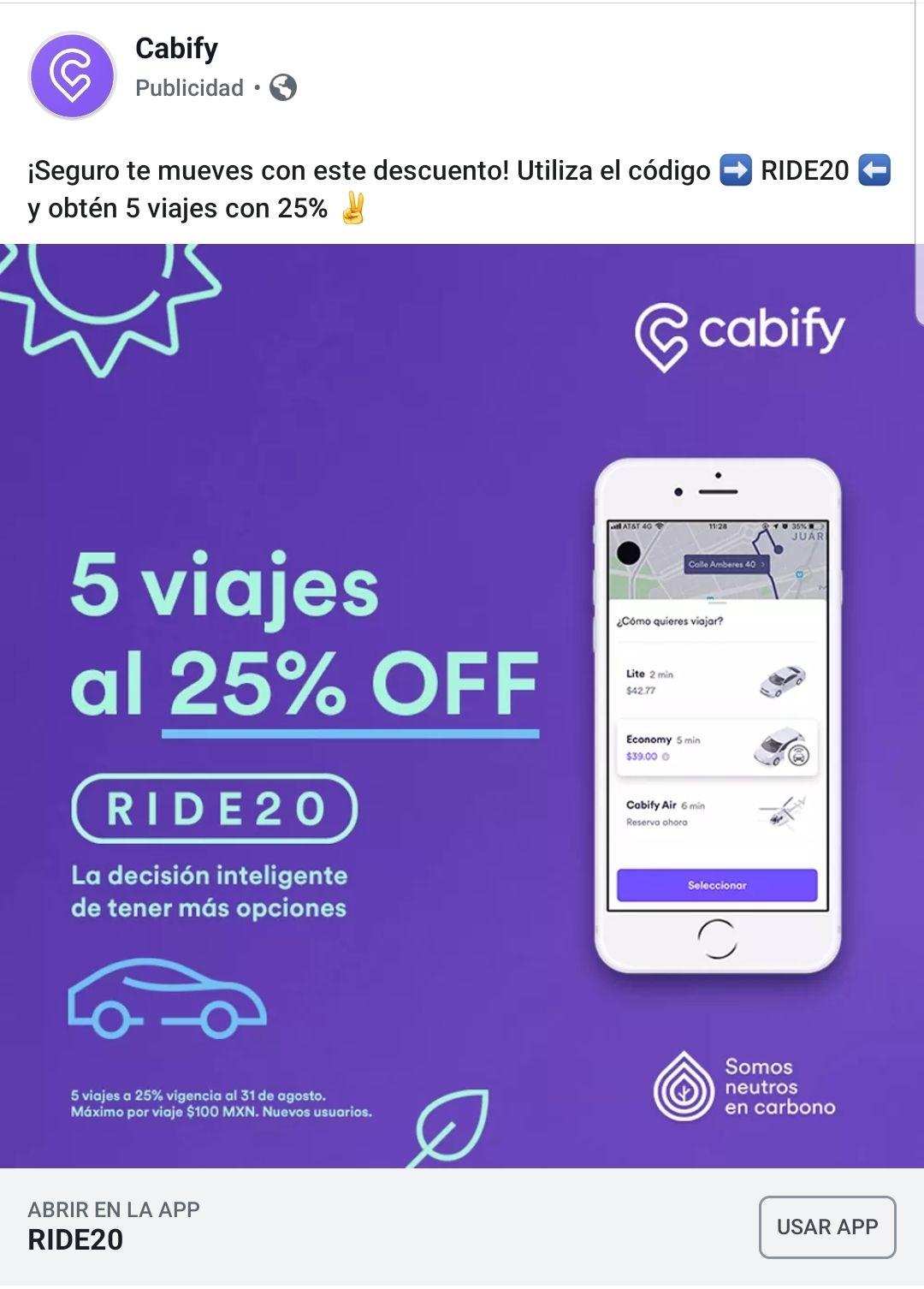 Cabify: 5 viajes con 25% de descuento (usuarios nuevos)