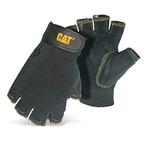 Amazon Cat - Guantes de piel  con palmas de medio dedo, color negro