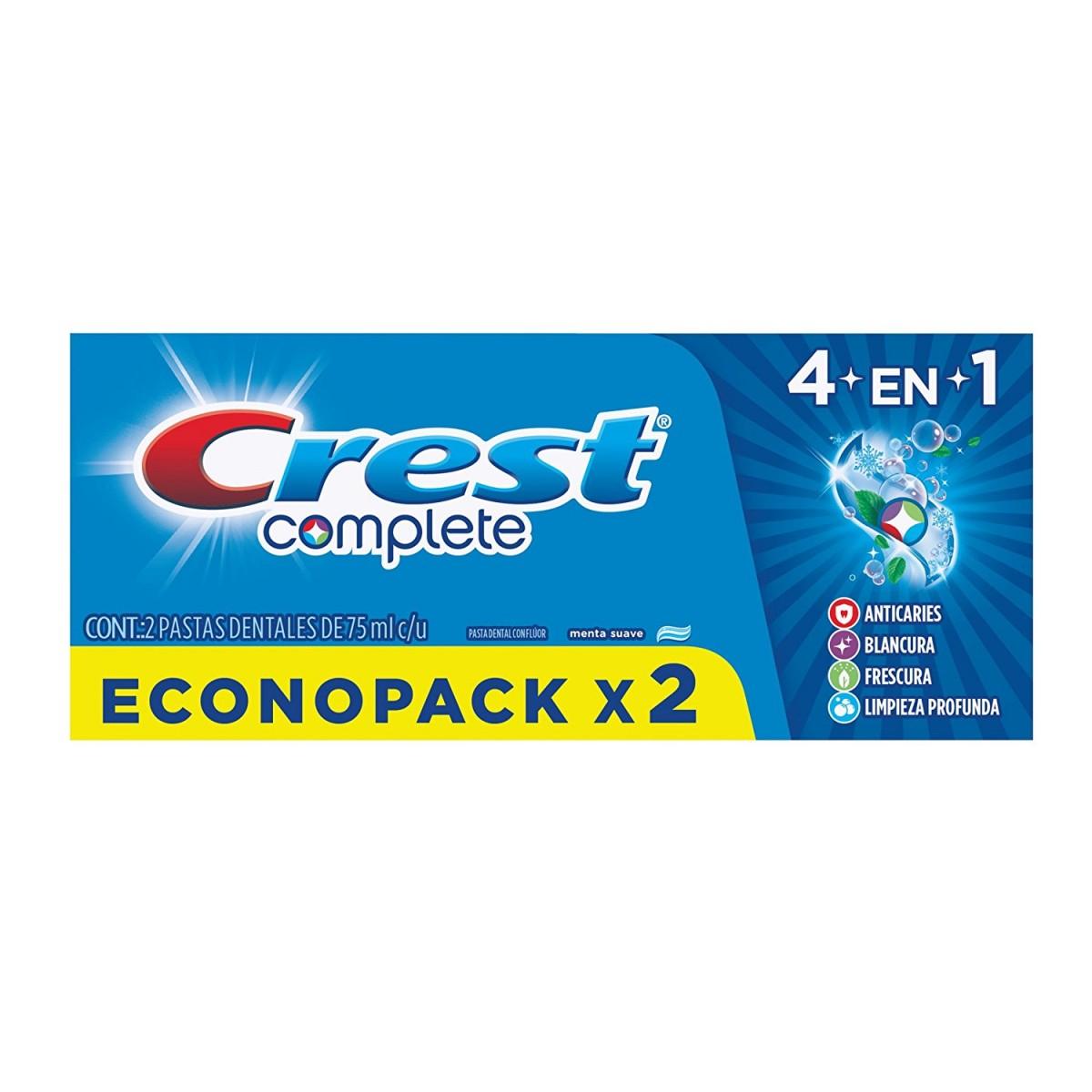HEB 2 pack 75 ml Pasta Dental Crest Complete 4 en1 2pack 75 ml