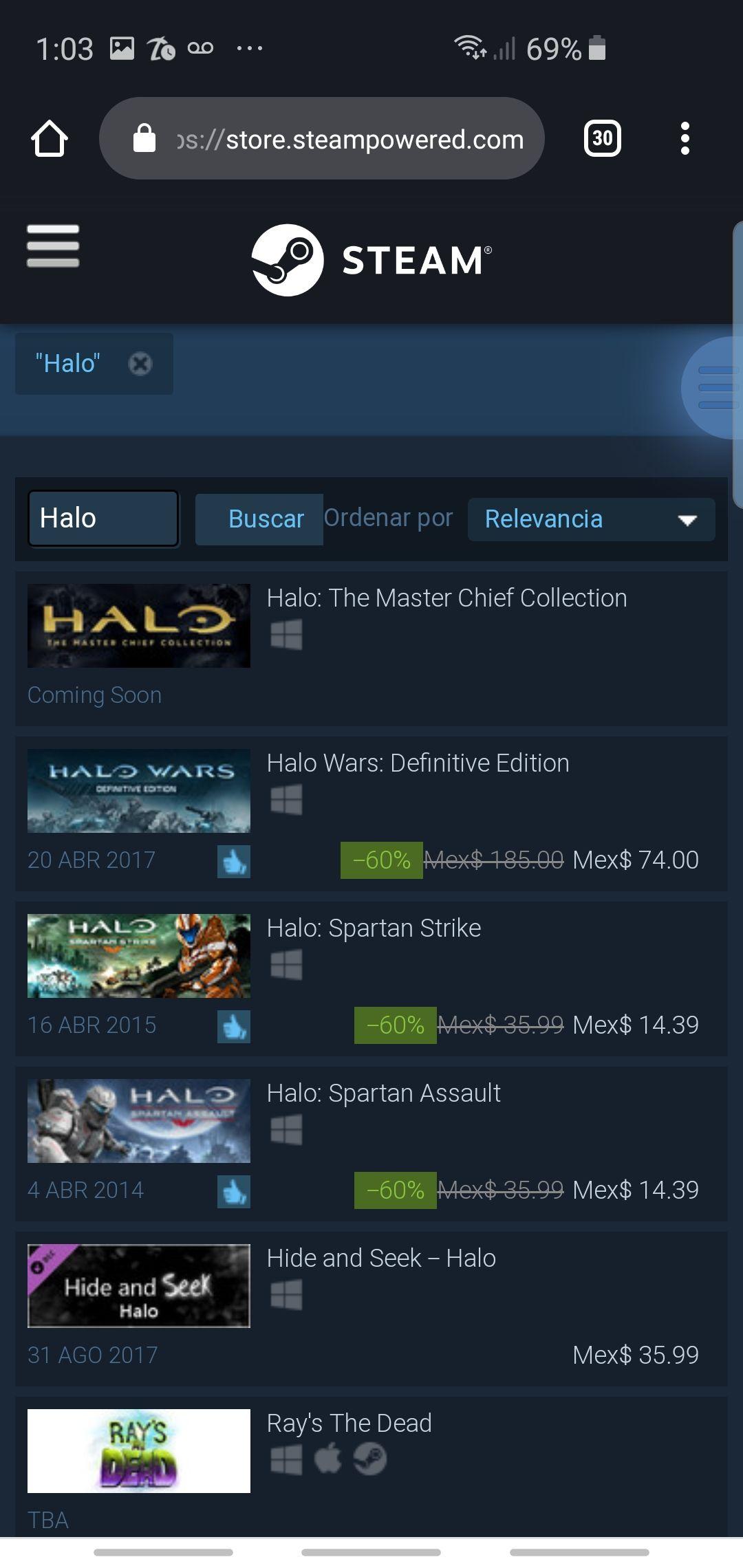 Steam: Juegos de Halo, desde  $15 pesitos.