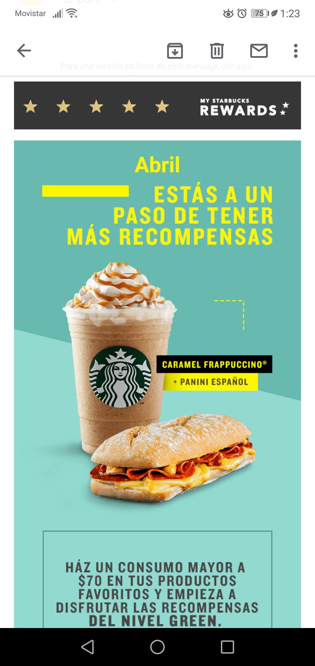 Starbucks card: sube a nivel green con compra mayor a $70