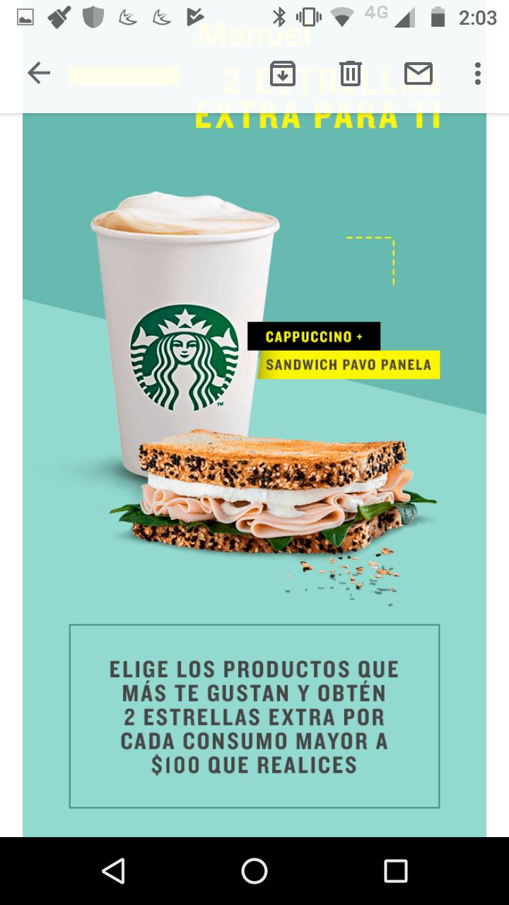 Starbucks: 2 extra stars en compras mayores a $100 (socios gold)