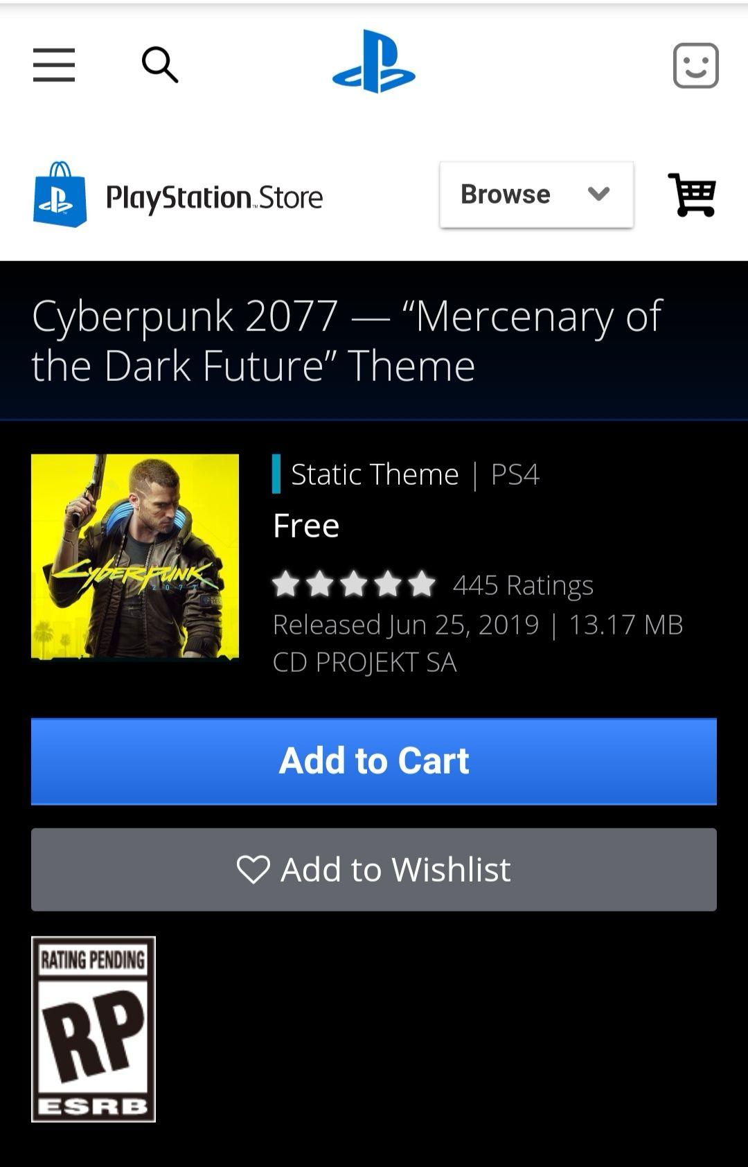 PSN: Cyberpunk 2077, tema gratuito