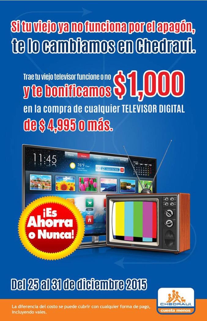Chedraui: $1,000 de descuento en TV digital llevando TV análoga