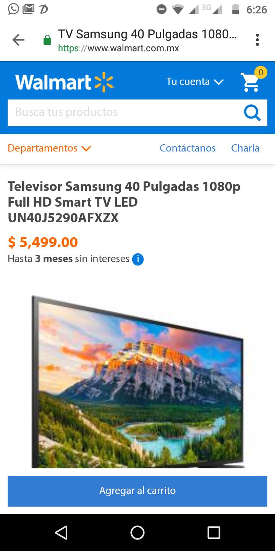 Walamart: Pantalla Samsung 40'' Smart TV