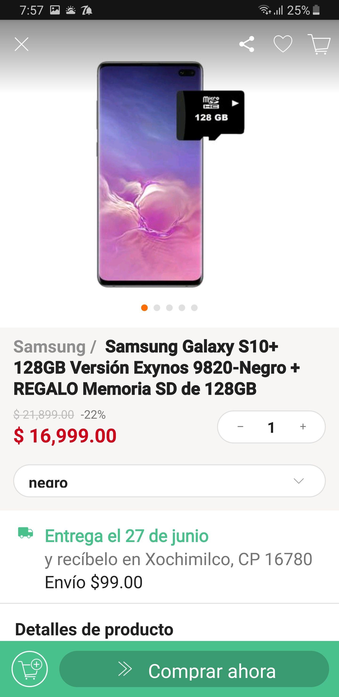 Linio: SamsungGalaxy S10+ 128gb +Memoria de regalo 128gb