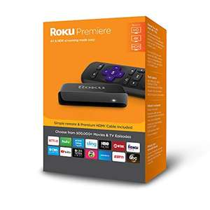 Amazon: Roku Premiere | 4K/HDR/HD Streaming Player with IR Remote and Premium HDMI Cable (US version 2018)