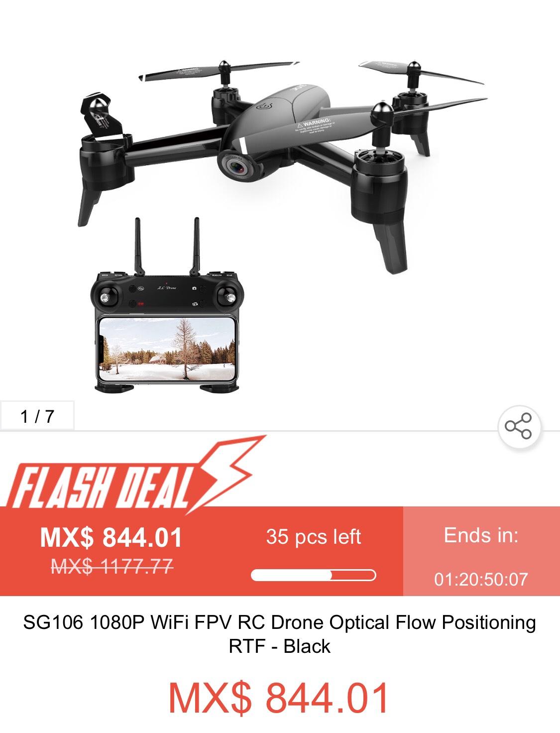 Geekbuying:  SG106 1080P WiFi FPV RC Drone Posicionamiento de flujo óptico RTF - Negro