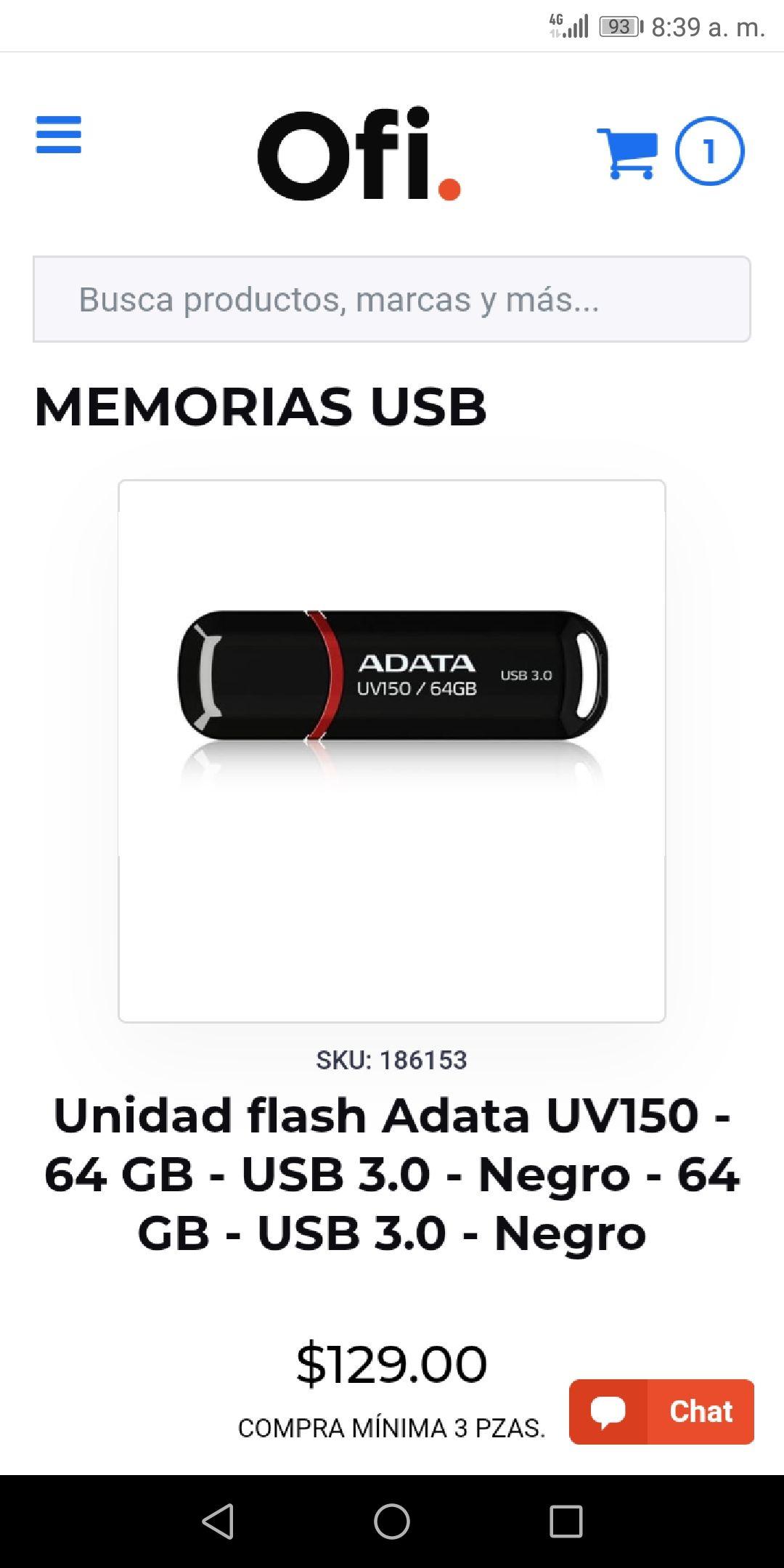 Ofi: Memoria usb Adata 3.0 64 gb