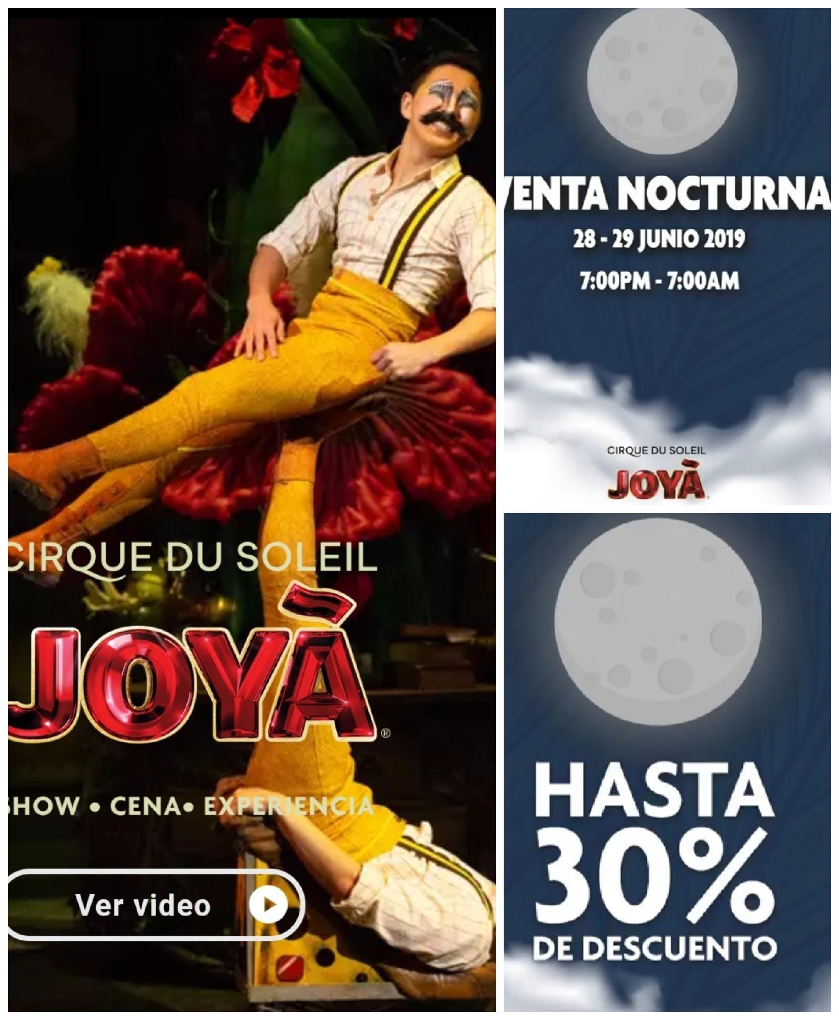 30% descuento entradas al espectáculo JOYÁ de Cirque du Soleil. Venta nocturna.