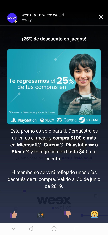 Weex Wallet: 25% de reembolso (máximo $40) en compras de $100 o más en tiendas Xbox, Playstation, Steam o Garena.