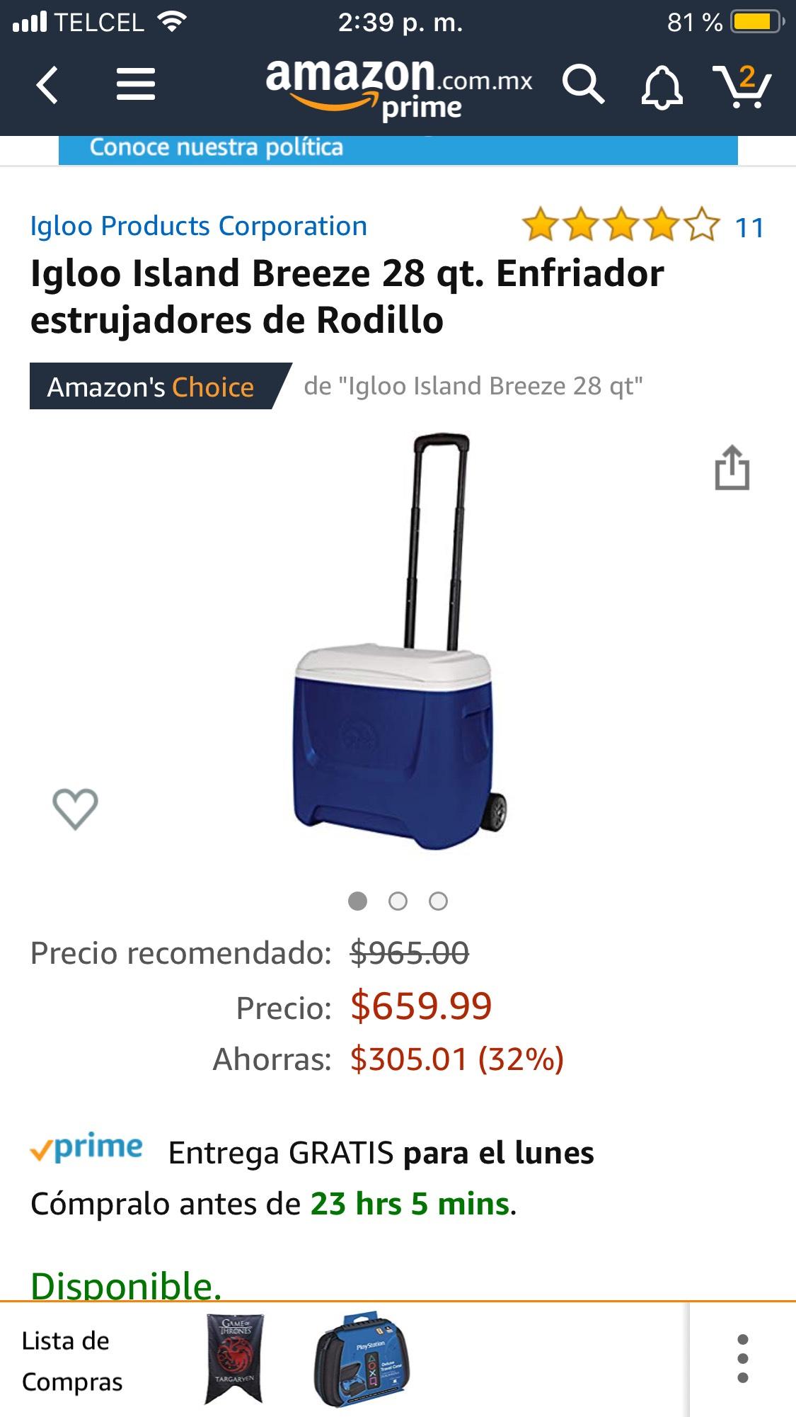 Amazon: Igloo Island Breeze 28 qt. Enfriador estrujadores de Rodillo