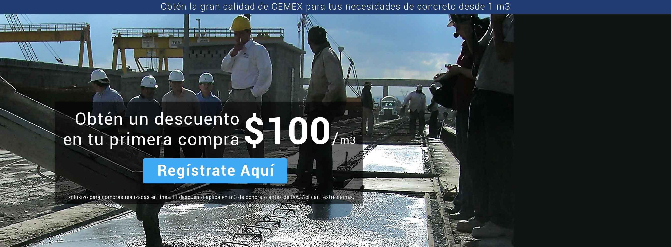 Cemex: $100 de descuento por m3 de concreto premezclado (Puebla, Queretaro, Guadalajara y León.)