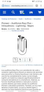Best Buy: Pioneer Audífonos Rayz Plus – Intrauditivos – Lightning - Negro