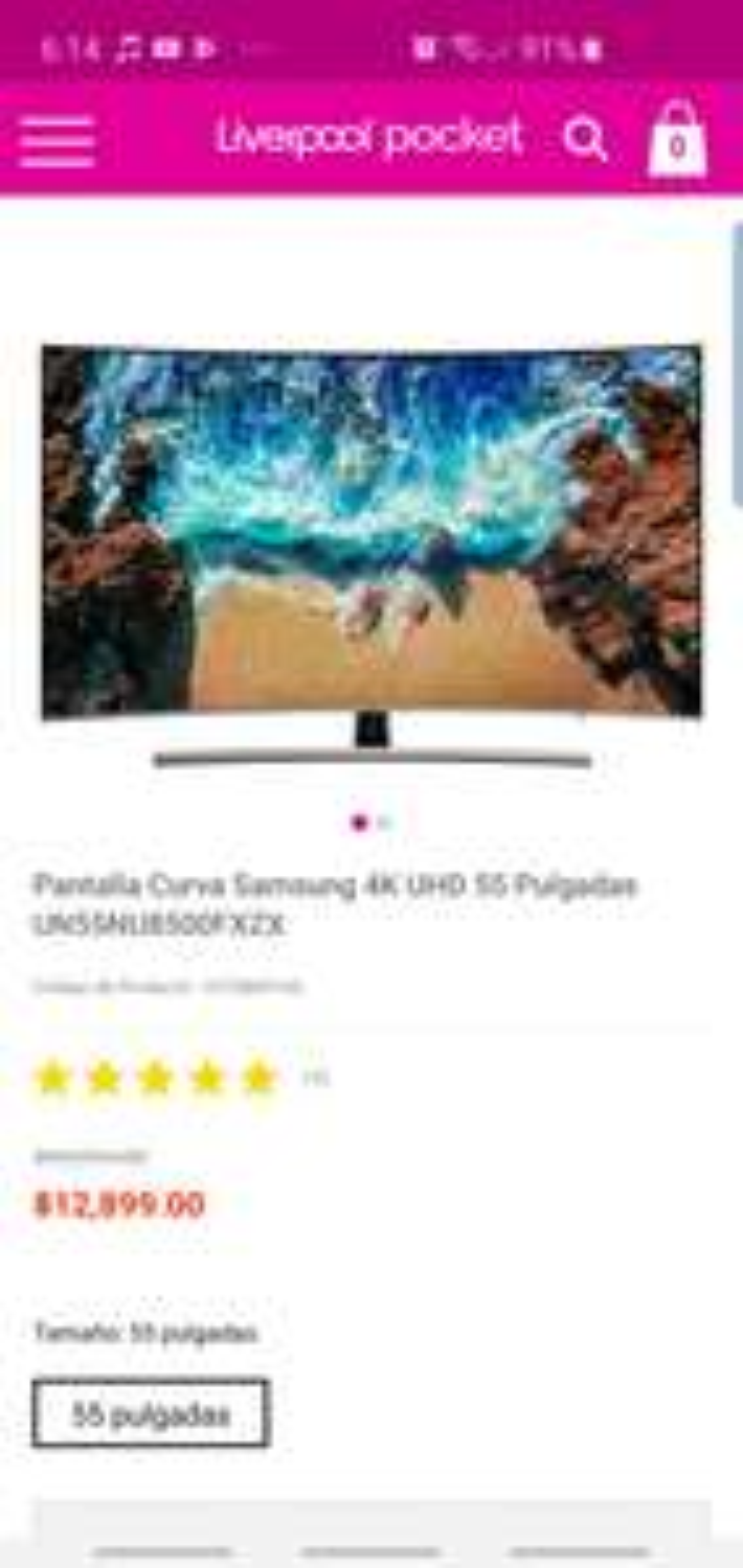 Liverpool: Pantalla Curva Samsung 4K UHD 55 Pulgadas UN55NU8500FXZX