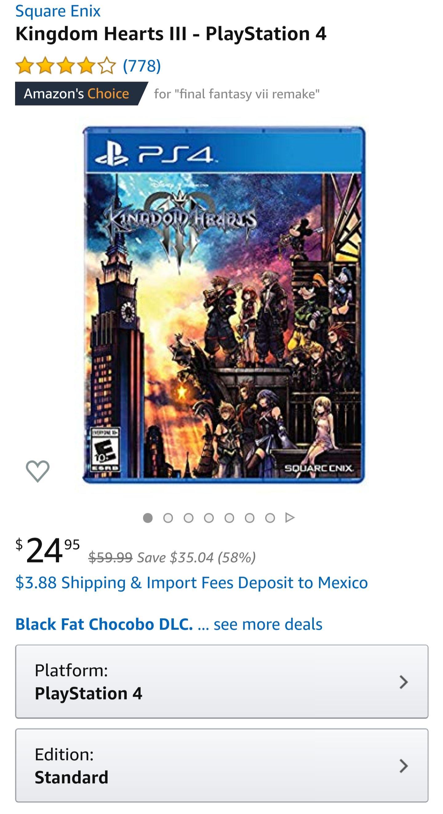 Amazon USA - Kingdom Hearts III