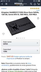 Amazon: SSD 120 GB Kingston