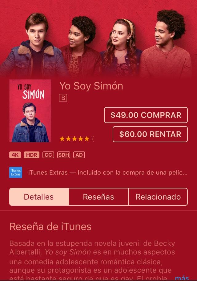 ITunes: Yo Soy Simón por Greg Berlanti