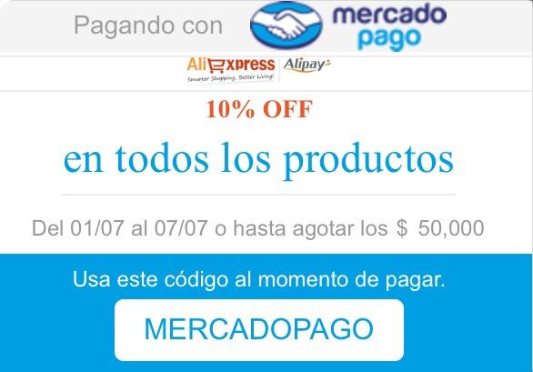 AliExpress: 10% de Descuento pagando con Mercado Pago