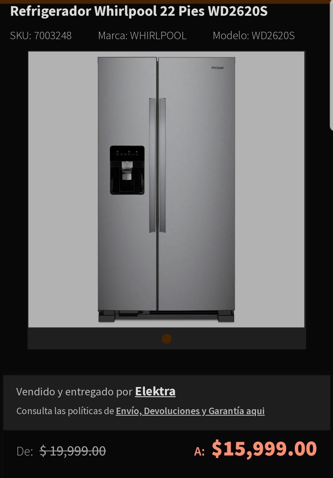 Elektra, refrigerador whirlpool 22 pies