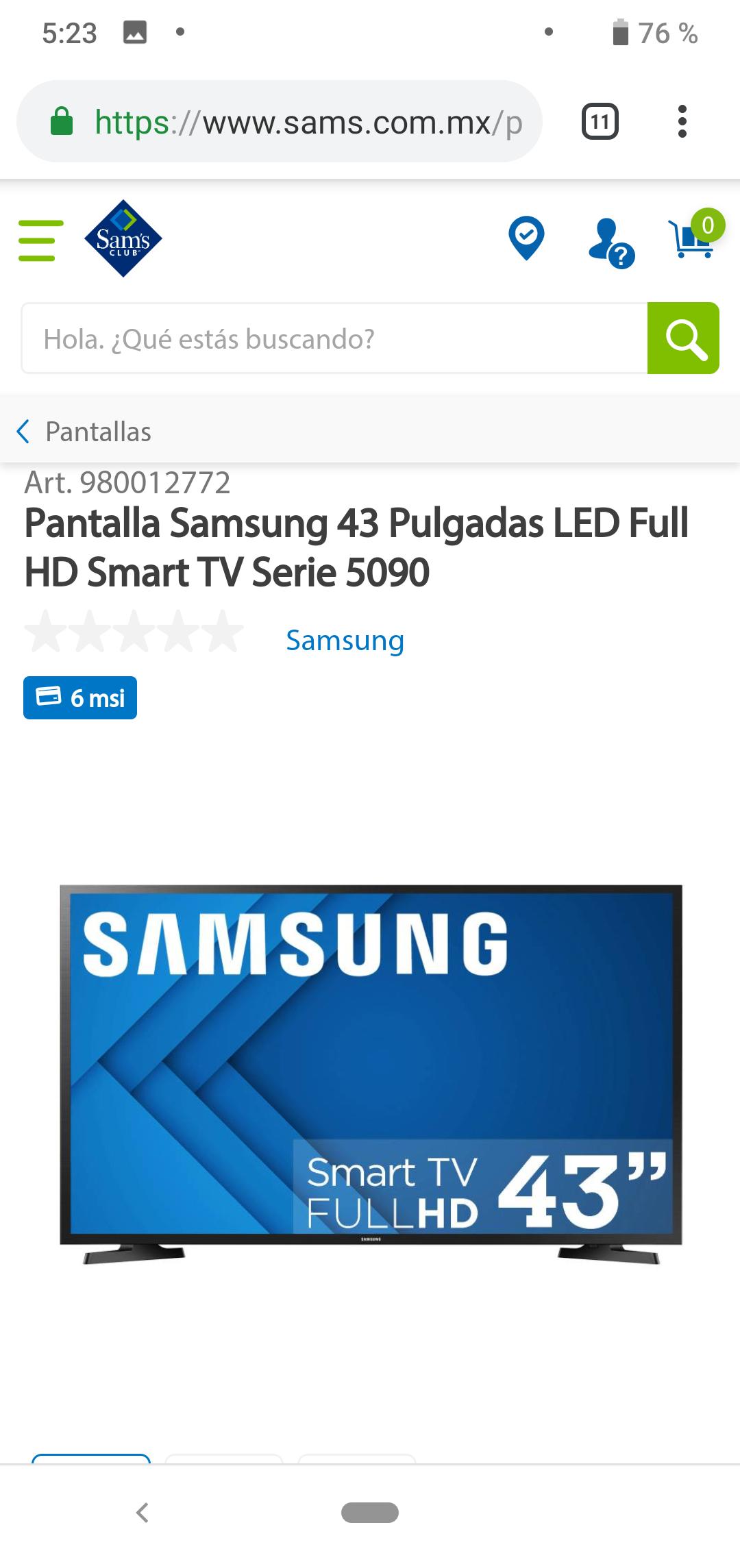 Sam's Club: Samsung Smart TV FULL HD 43'' (Pagando con Bancomer a 18MSI)