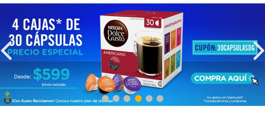 Dolce gusto: 4 cajas de 30 capsulas de café americano