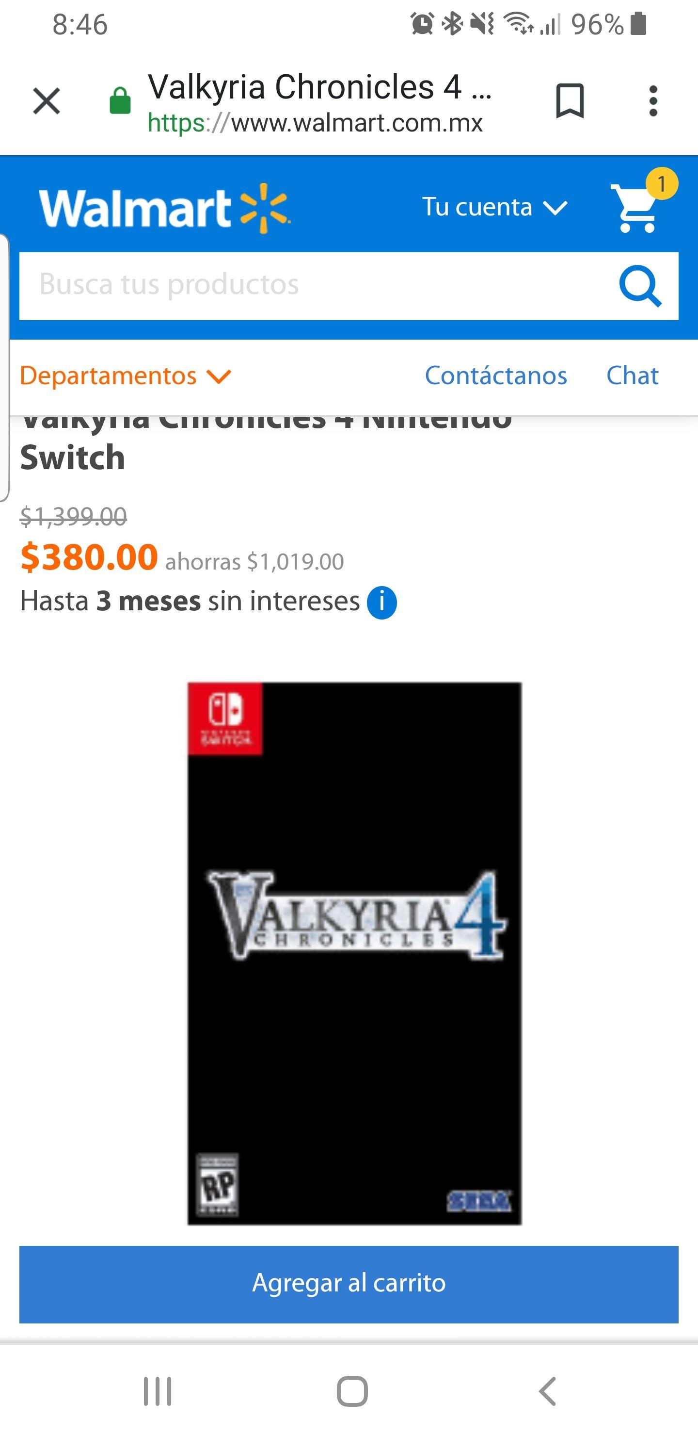 Walmart: Nintendo Switch:valkyria Chronicles 4