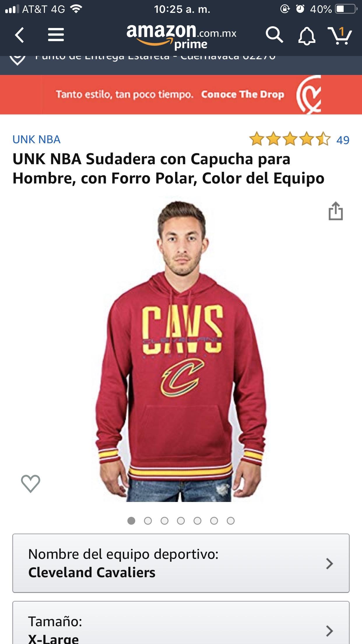 Amazon: UNK NBA Sudadera con Capucha para Hombr