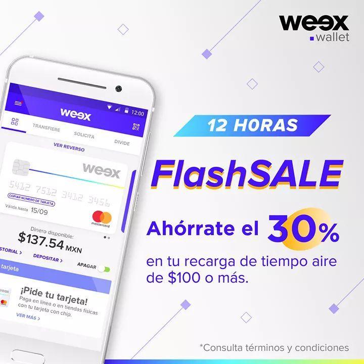 Weex Wallet : 30% de Cashback en recarga a cualquier compañía telefónica mínimo 100