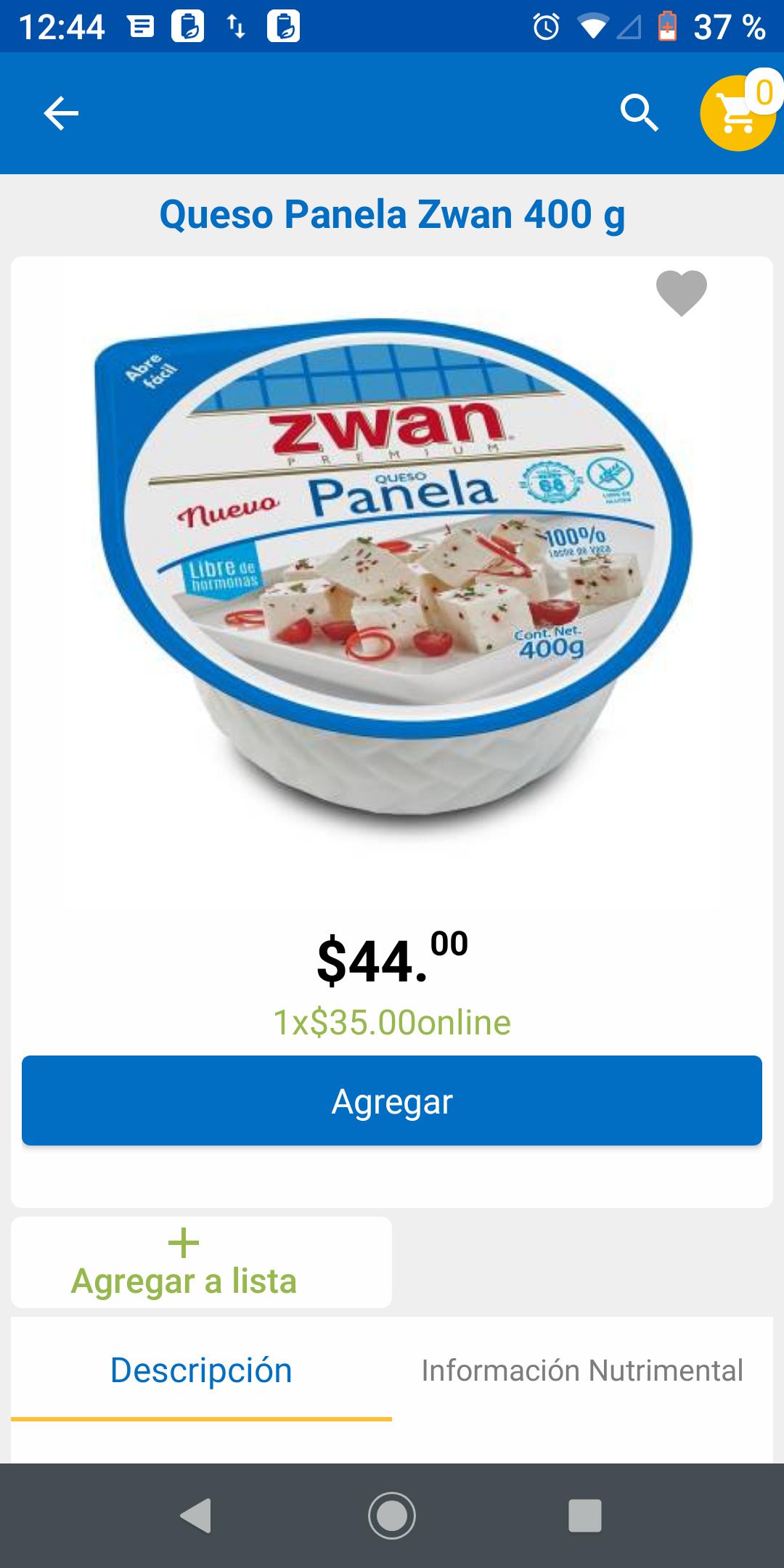 Walmart en línea: Queso Panela Zwan 400grs