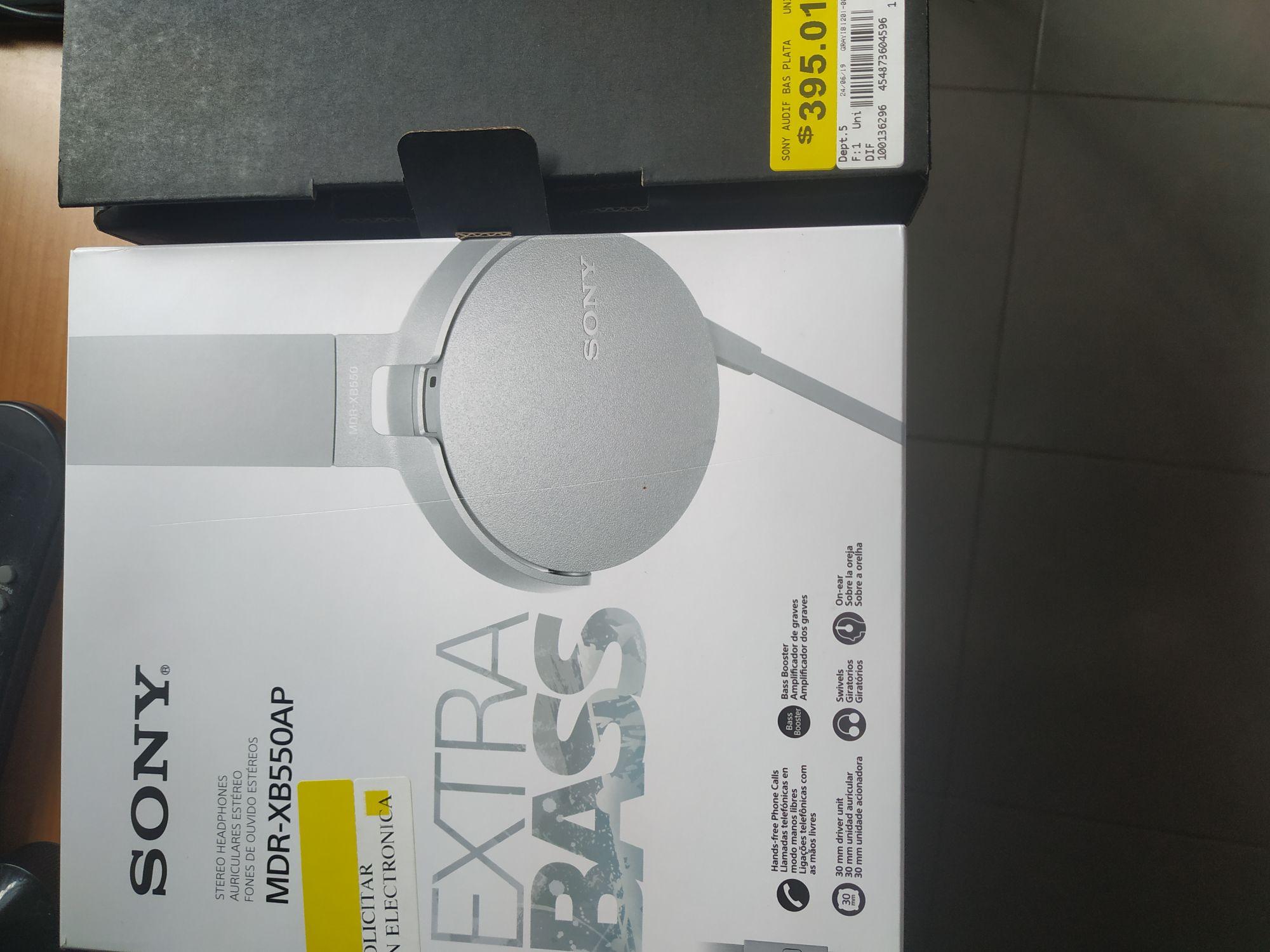 Walmart Audífonos Sony Extra Bass Plata MDR-XB550AP