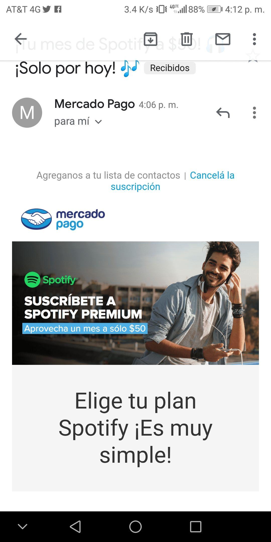 Mercado Pago: Spotify 1mes por $50