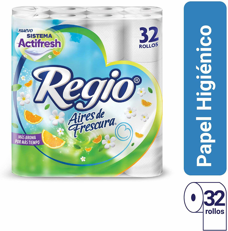 Amazon:Papel Higiénico Aires de Frescura; con Delicado Aroma Cítrico y Floral; Marca Regio; 32 Rollos