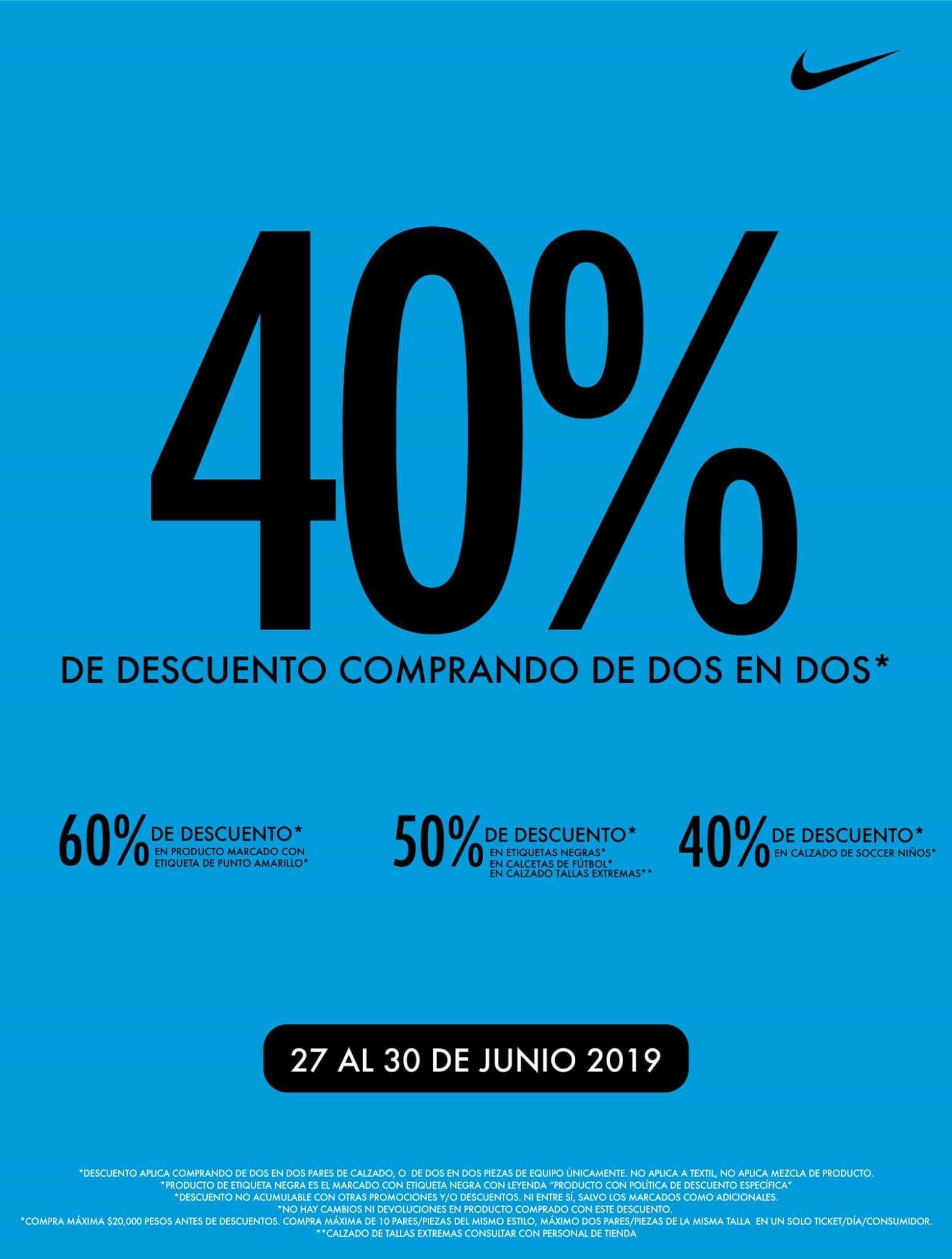 Nike factory: 40% comprando de 2 en 2 Hilvana Querétaro
