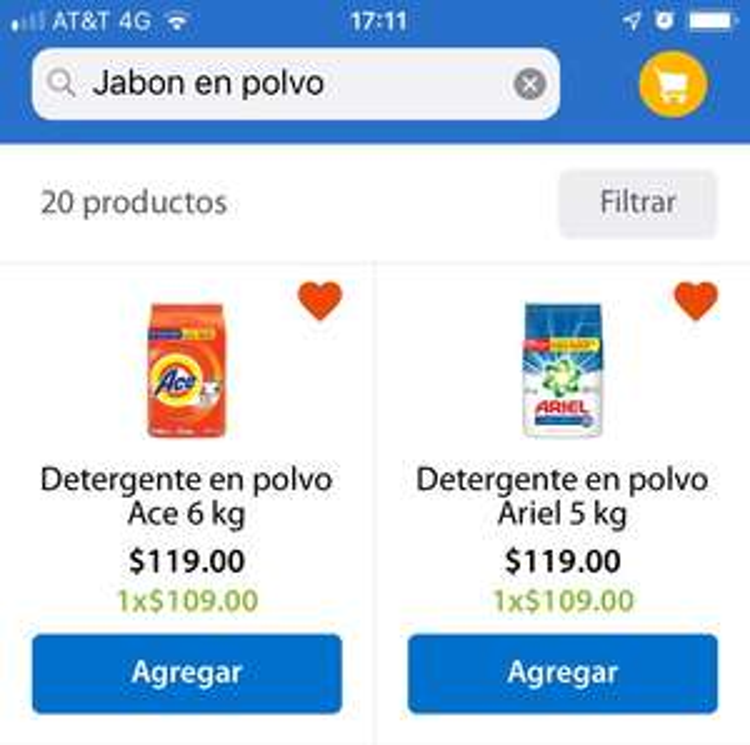 Walmart: Ace 6Kg y Ariel 5kg. $ 109.00 c/u