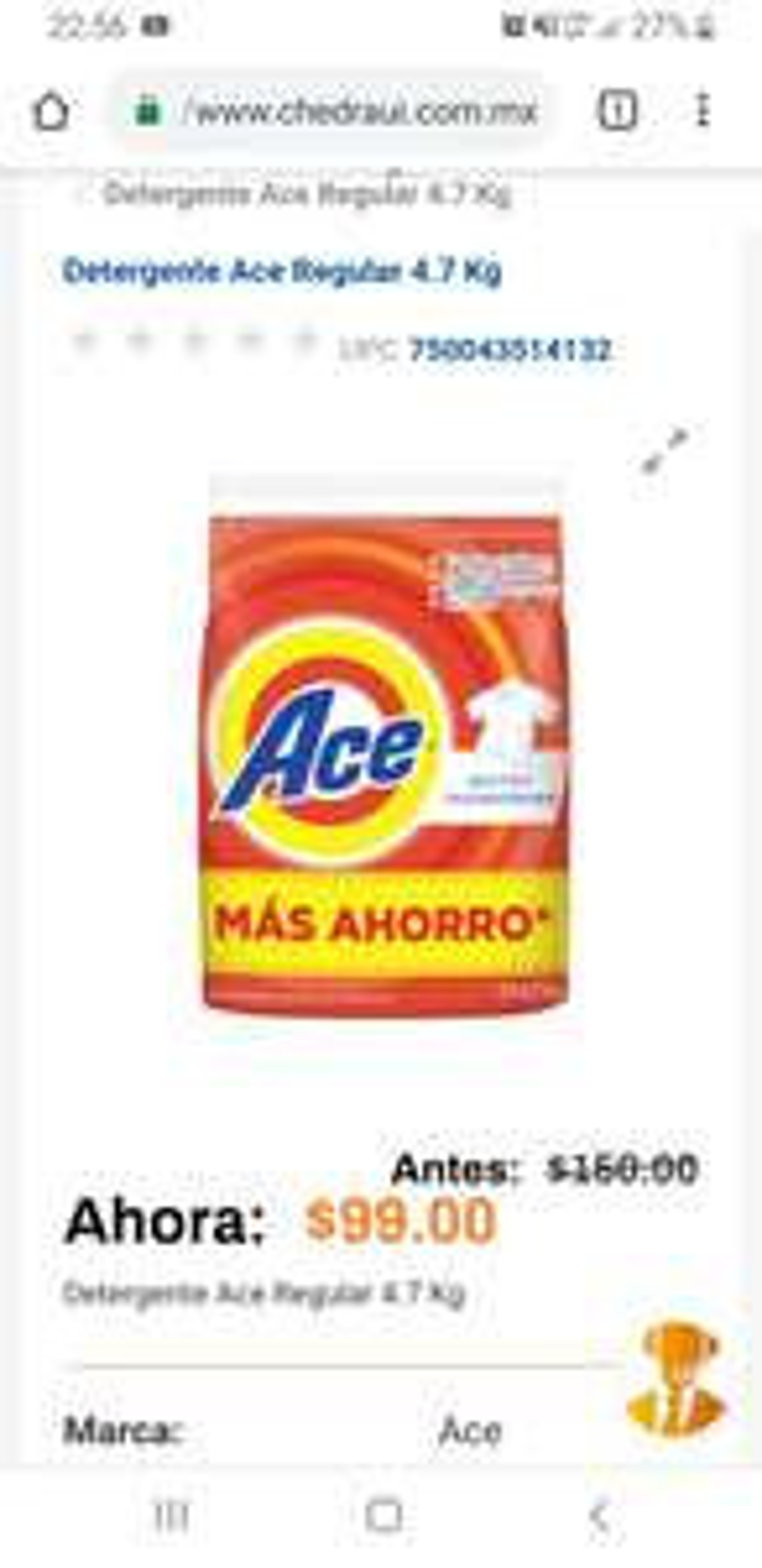 Chedraui en línea: Detergente Ace 5Kg