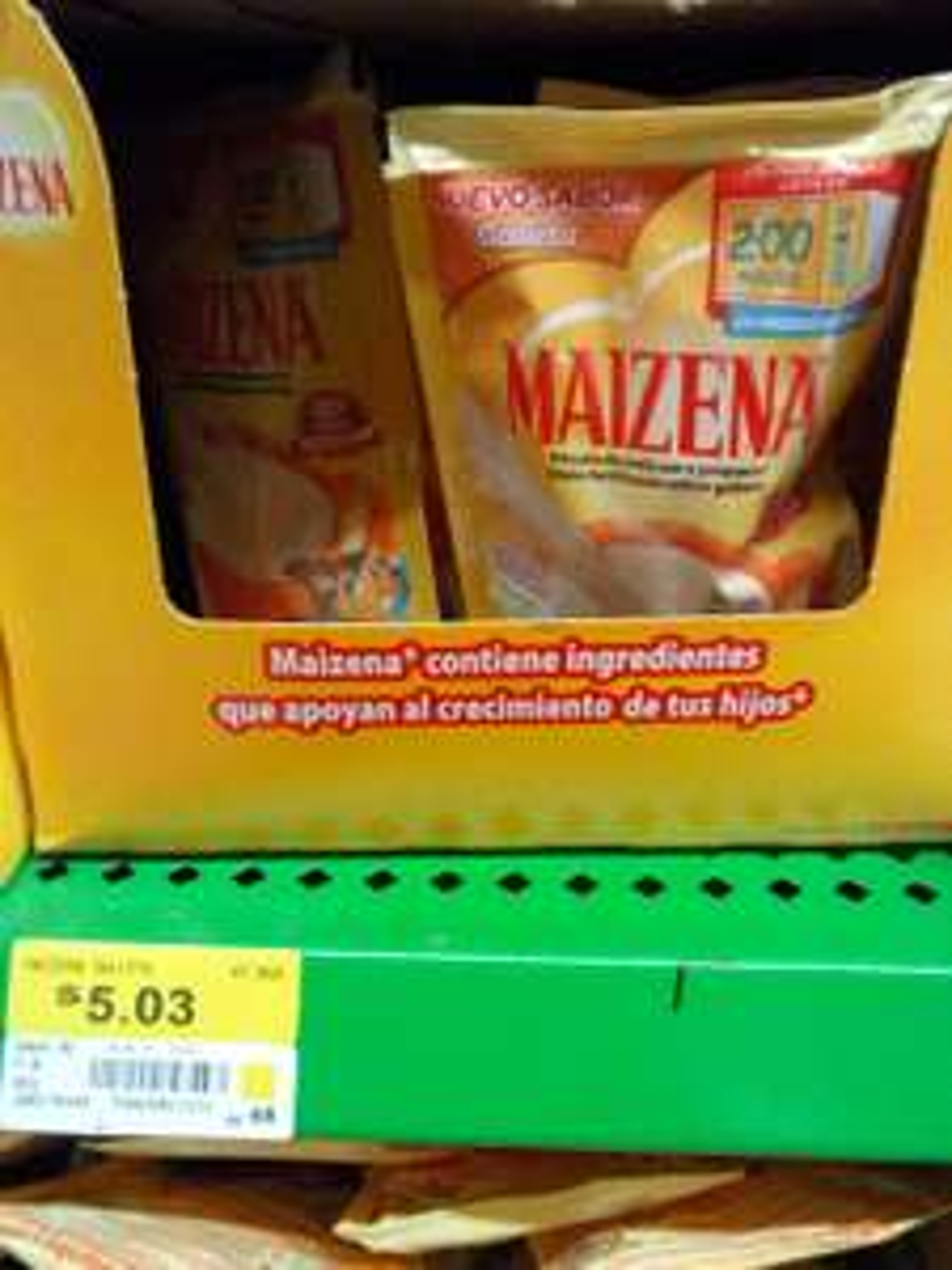 Aurrera: Atole Maizena $5, taza papá $9