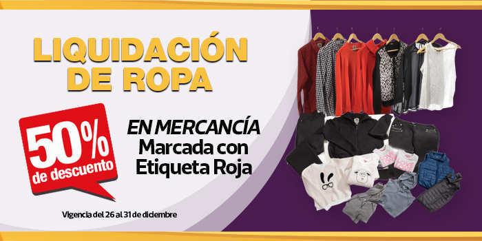 La Comer: Liquidación de ropa marcada con etiqueta roja del 50% de descuento