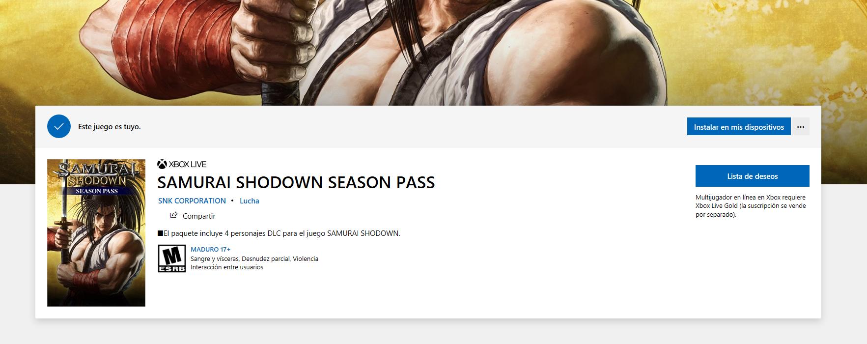 Microsoft Store: Samurai Shodown Season Pass