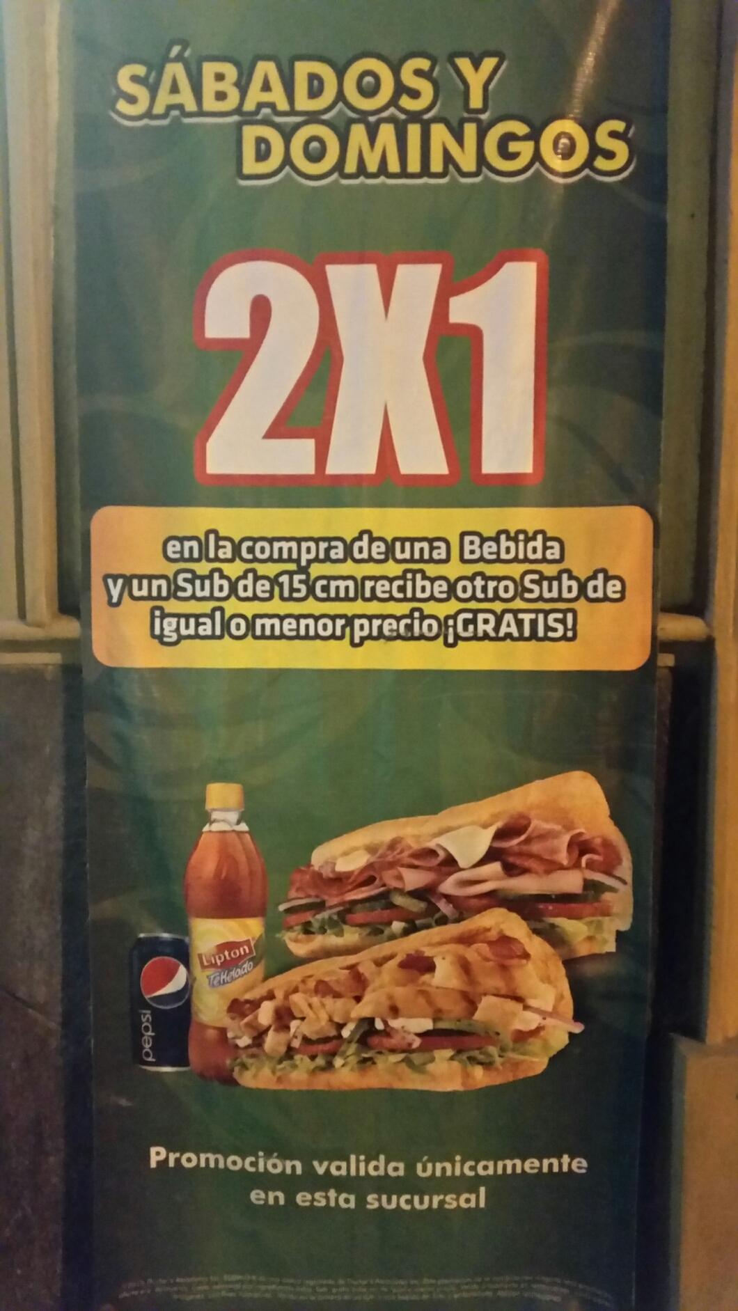 Subway: En la compra de una bebida recibe otro sub de igual o menor precio