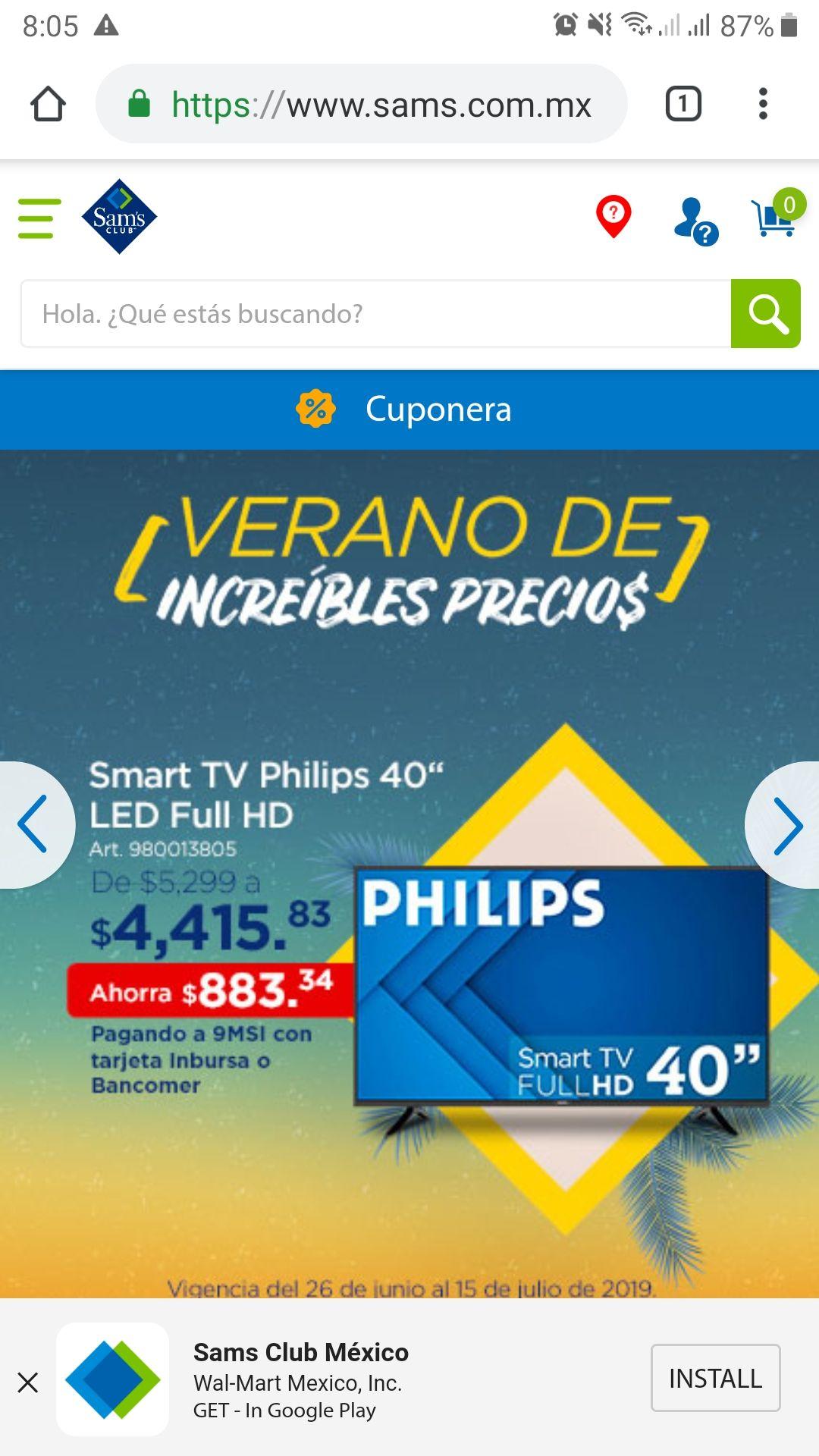 "Sam's Club: Smart TV Philips 40"" (pagando con Inbursa o BBVA)"