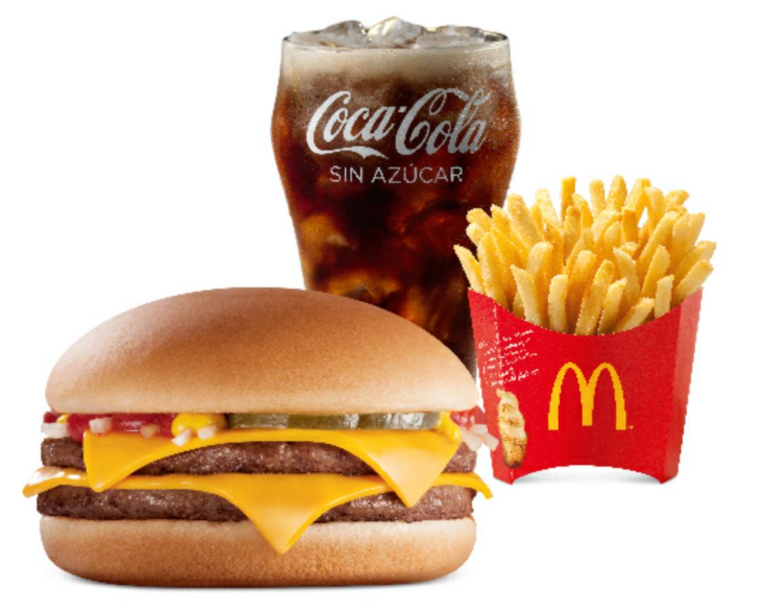 McDonald's (Sin Delantal): 2 Mc Trios de Hamburgesas dobles con queso