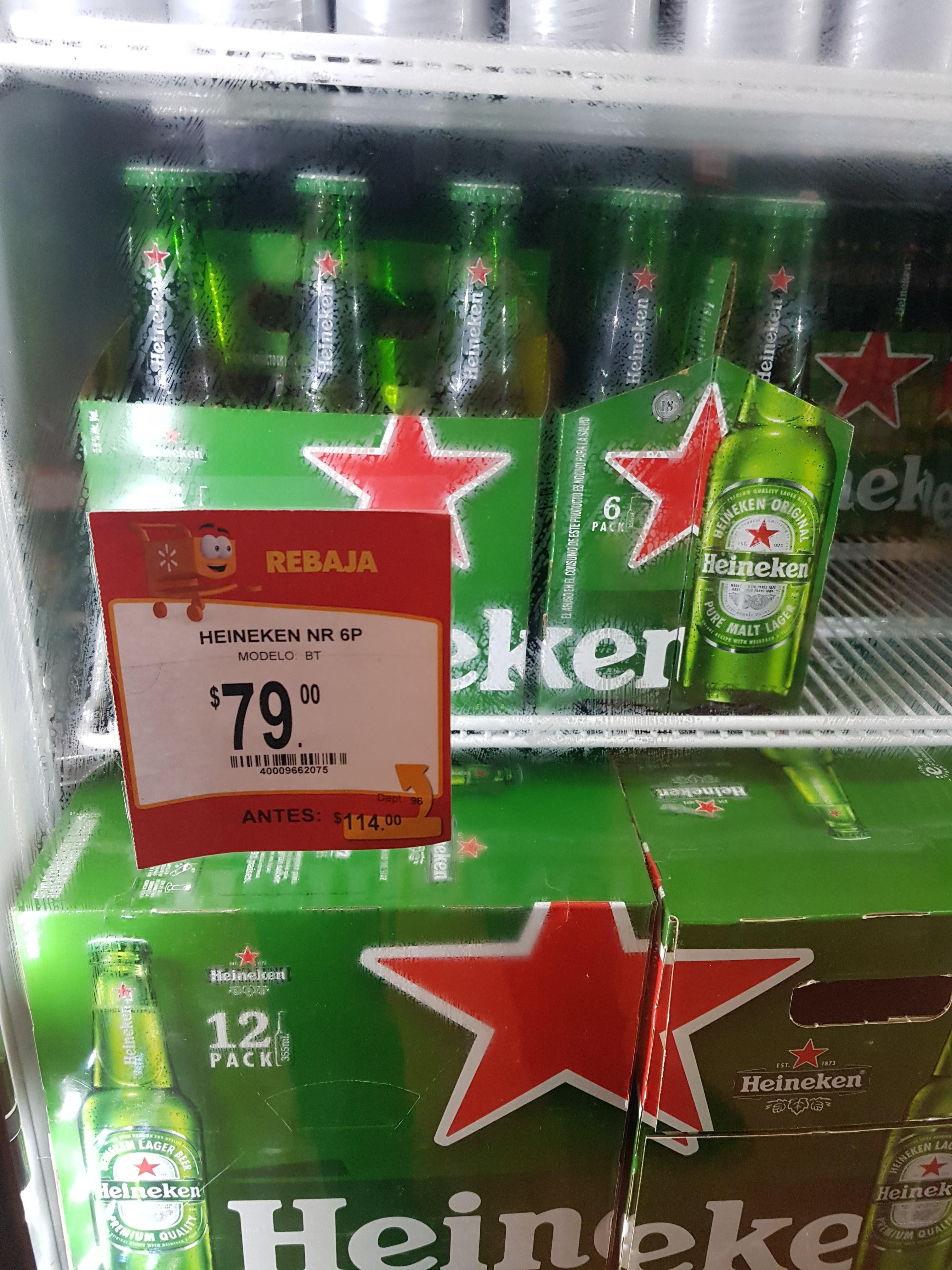 Walmart: Six de Cerveza Heineken.