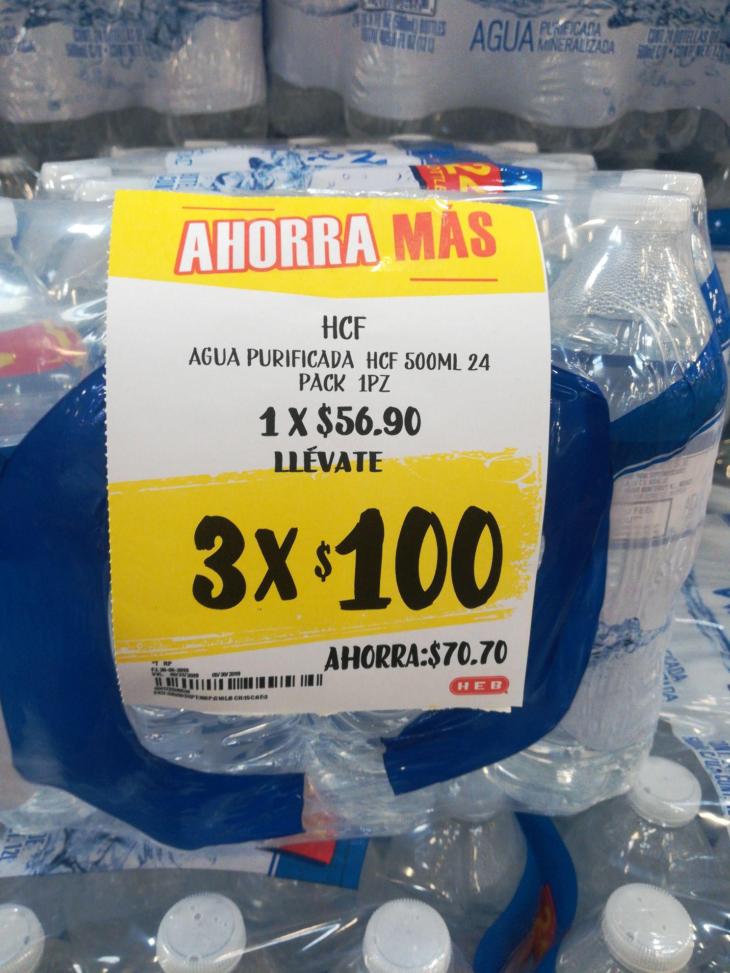 HEB: Agua purificada HCF 24-pack de 500ml a 3x$100