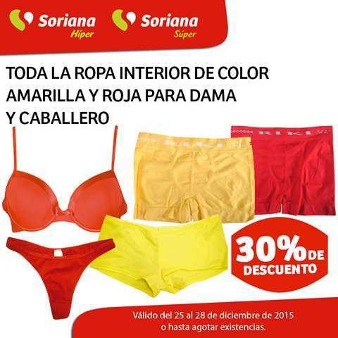 Soriana Hiper & Super: 30% de descuento en ropa interior para dama y caballero (roja y amarilla)