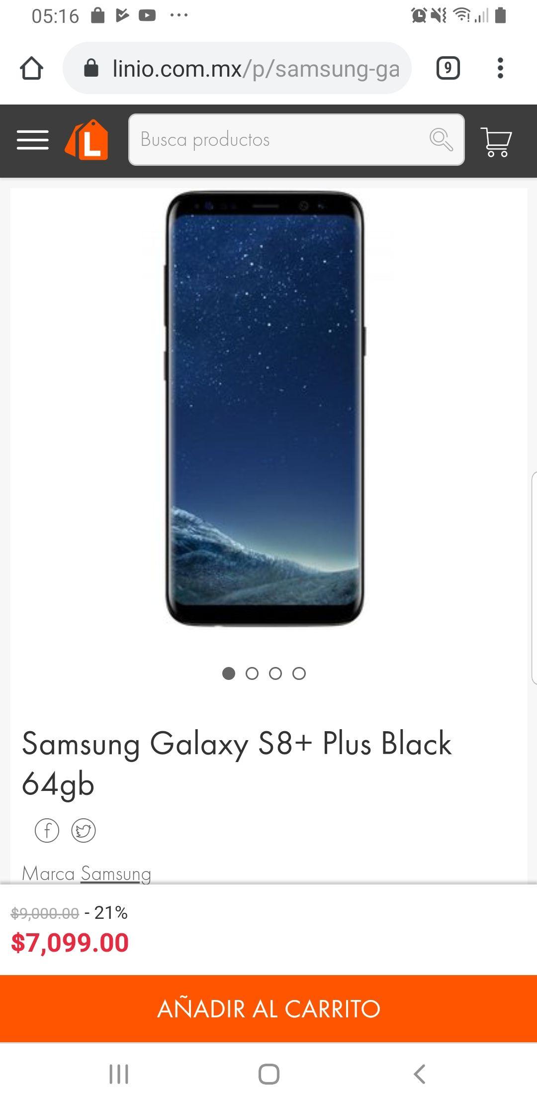 Linio: Samsung Galaxy S8+ Plus 64gb NUEVO Garantía 12 meses (no reacondicionado)